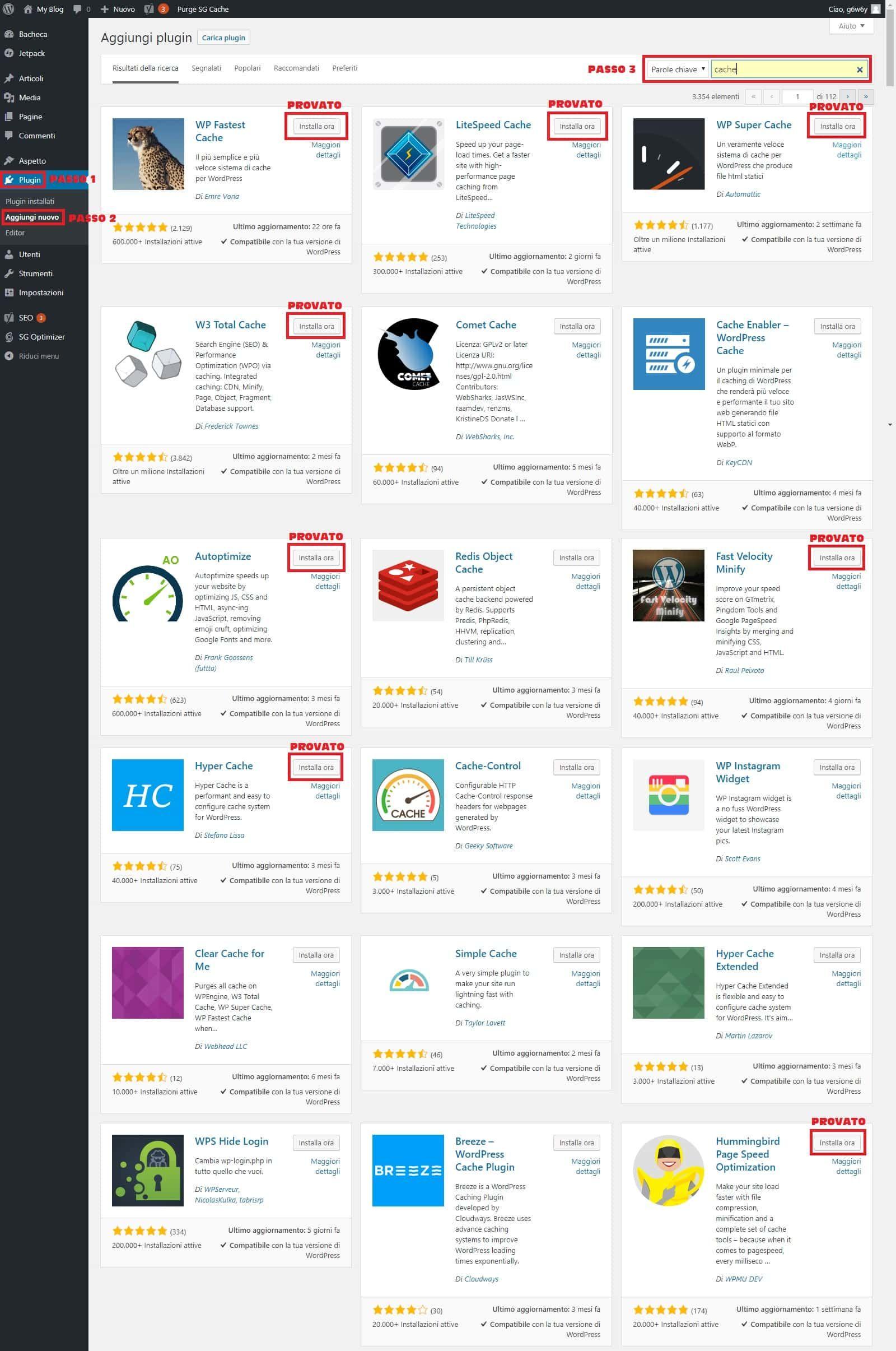 visualizzazioni del sito web